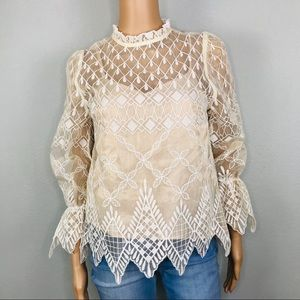 Embroidered long sleeve scalloped edges blouse
